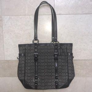 COACH classic print purse leather trim